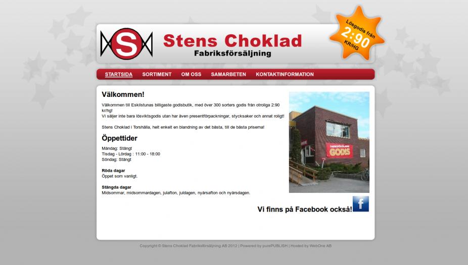 Hemsida Stens Choklad Fabriksförsäljning