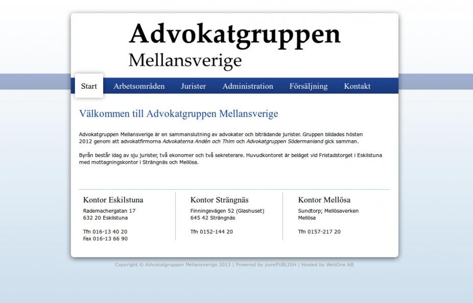Hemsida Advokatgruppen Mellansverige